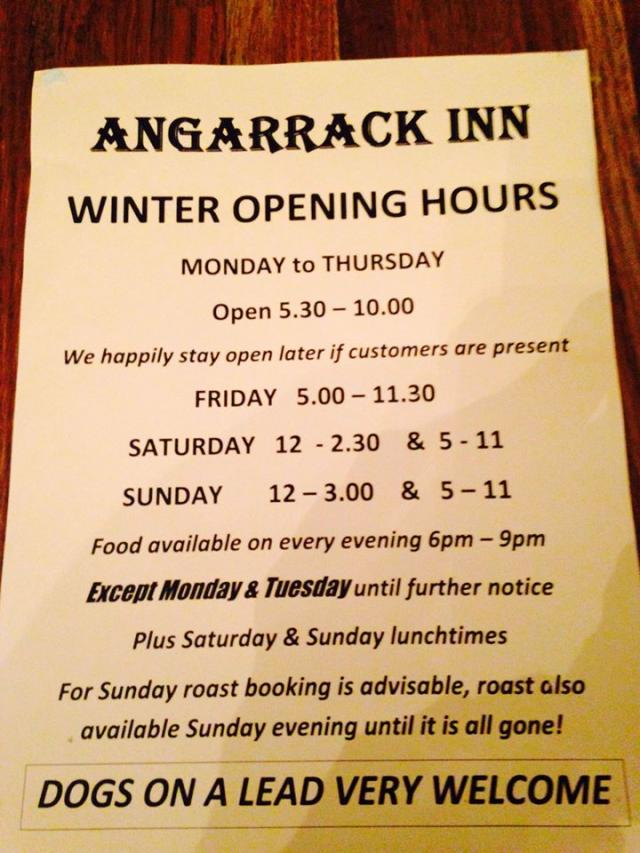 Angarrack Inn - Hi guys!! Here's our Winter Opening Hours :)